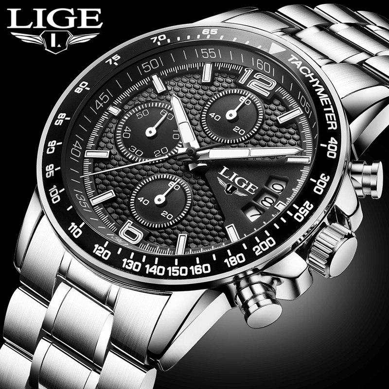 e1b09c8351ef7 Montre LIGE Quartz Pour Hommes En Acier Style Homme d'Affaires ...